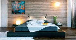 отделка стены ламинатом в спальне